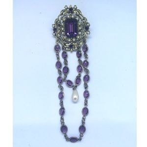 Vintage Chatelaine Purple and Gold Brooch Dangles